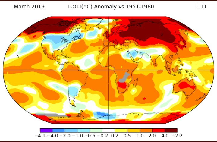 Este mapa muestra una anomalía térmica este mes de Marzo. Recién llegado de Siberia, obtuve algunas respuestas, mi amigo meteorólogo David Lope-Rey, confirmaba mis sospechas, a través de la página del Instituto Goddard de Estudios Espaciales de la NASA (GISS) @NASAGISS. Mostraba esta foto y el siguiente escueto texto: Confirma que marzo de 2019 es el tercer mes más cálido a nivel mundial desde 1880.