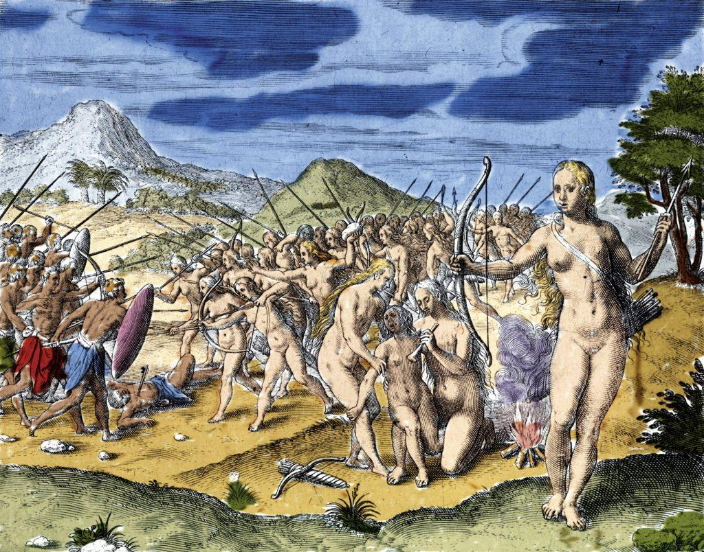 Amazonas en un grabado de Theodore de Bry