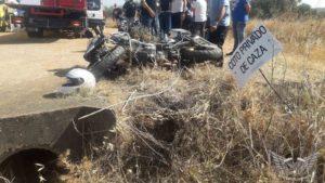 Motocicleta accidentada cerca de Lobón